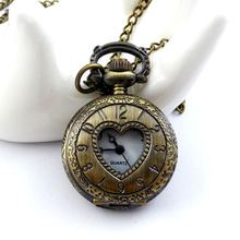 fashion Casual Retro Vintage Skeleton small quartz pocket watch for women lovers heart antique steampunk long necklace(China (Mainland))