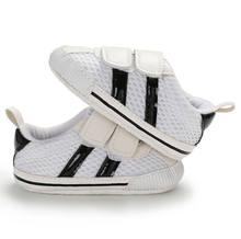 חדש לפעוטות ילדי נעלי רשת פסים תיקון וו בלעדי 0-18 חודשים רך עריסה יילוד תינוק תינוקות ספורט מקרית Sneaker(China)
