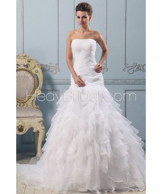Free shipping princess elegant tiered fold organza ruffle for Tiered ruffle wedding dress