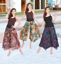 2015 chiffon print women's high waist culottes summer plus size loose wide leg casual pants female trousers slacks free shipping