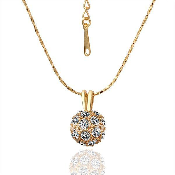 Freeshipping 18k Gold Crystal Ball Pendant Necklace