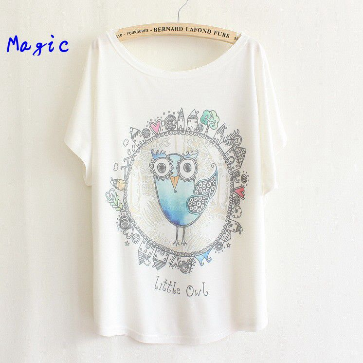 Magic 2013 thin plus size loose batwing sleeve women s short sleeve T shirt print