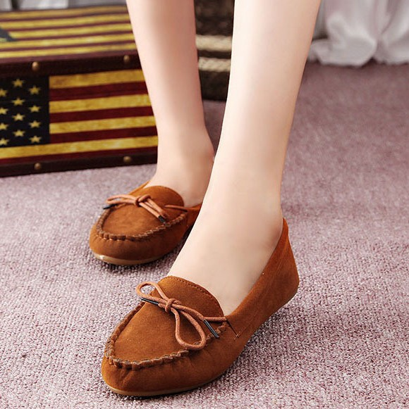 Women's Peas soft driving bow slip-on Loafers lady flat shoes 100% Authentic leather shallow mouth round women flats - Online Store 923589 store