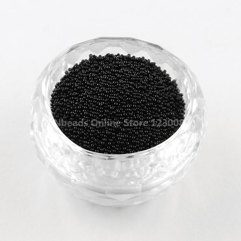 Transparent DIY 3D Nail Art Decoration Mini Glass Beads, Tiny Caviar Nail Beads, Black, 0.6~0.8mm(China (Mainland))