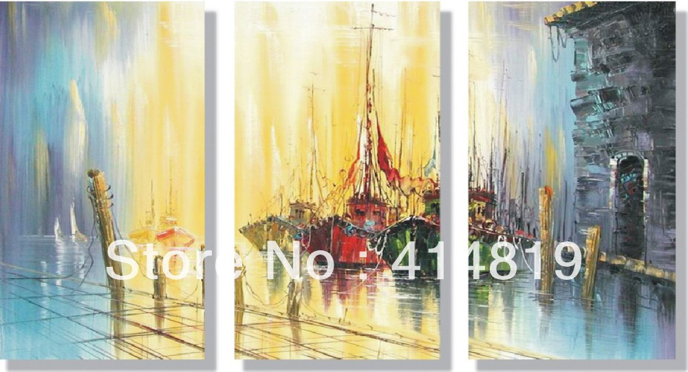 Free shipping Art High Quality Modern Abstract Art Oil Painting Canvas Seascape Oil Painting Sailing Boat 3pcs/set 644