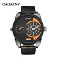 CAGARNY business watch men leather strap Dual movement male clock military quartz Wristwatches 2016 relogio masculino