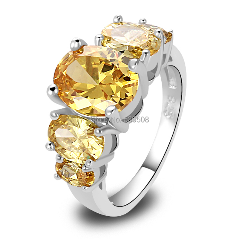 Wholesale Fashion Jewelry Unique Rings Oval Citrine 925 Silver Ring Size 6 7 8 9 10 11 12 13 Women Wedding Engagement Jewelry(China (Mainland))