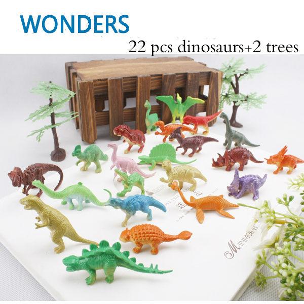 24pcs Dinosaur Toy Set Plastic Jurassic Park World Play Toys Dinosaur Model Action & Figures T-REX DINOSAUR Best Gift for Boys(China (Mainland))