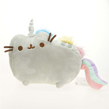 Cartoon Soft Pusheen Cat Cushion Plush Toys As Gift For Children Kawaii Animal Cat Rainbow Cute Toys Free Shipping(China (Mainland))