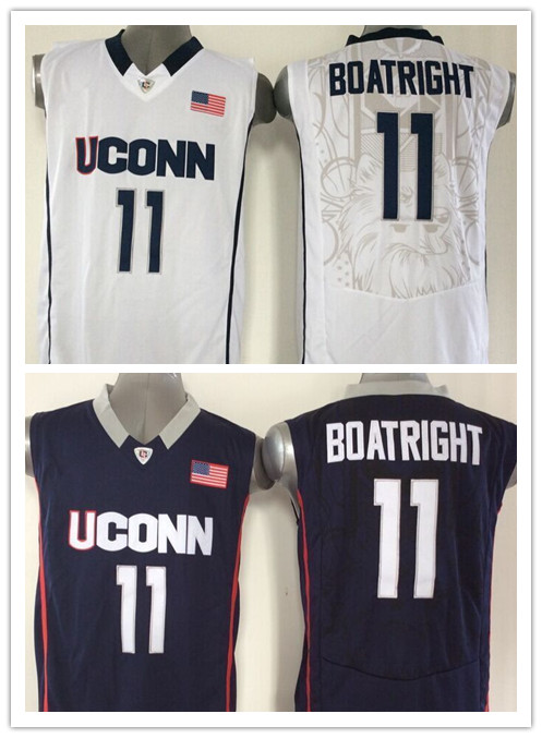 Hot 2016 NWT College Charlotte Basketball Jersey 11 Ryan Boatright Uconn Huskies Jersey Blue White New Material Stitched Shirt<br><br>Aliexpress