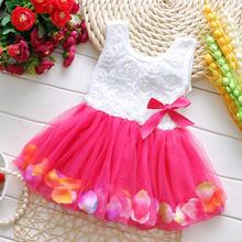 Crianças Bebê Meninas Bela Flor Vestido de Princesa Vestido de Verão Sem Mangas Mini Vestido Tutu Rosa Amarelo Vermelho Do Bebê Meninas Vestido