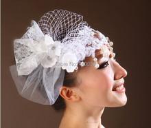 2015 new handmade bianco velo di pizzo perle fiore tiara wedding cappelli bianchi per le donne diamanti e perle da sposa cappelli fw180(China (Mainland))