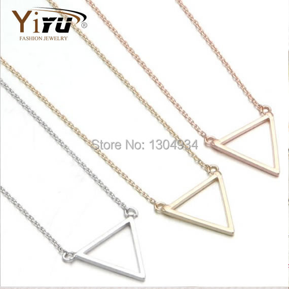 1pc 2015 New Gold Silver Triangle Geogeometric Shape Bridesmaids Gift Mothers Valentines Day Simple Charm Necklace N068(China (Mainland))