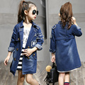 New Arrival 2016 Girls Autumn Jacket Children Jeans Coat Kids Fashion Long Style Coat Baby Wind