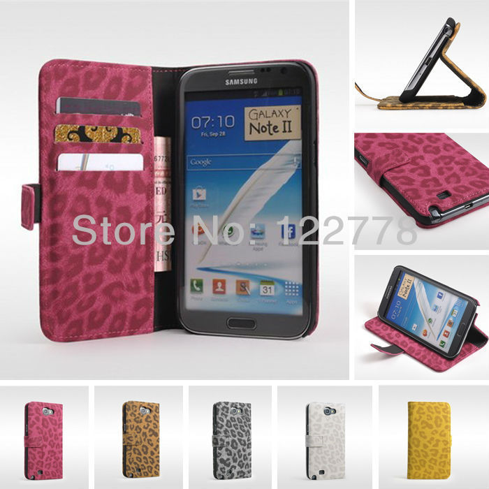 Luxury Charming Credit Card High Quality Leopard Print Wallet Flip Cover Leather Case for Samsung Galaxy Note 2 N7100(China (Mainland))