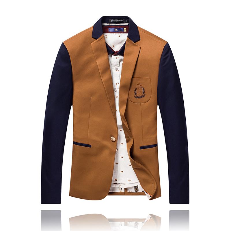 Spring Fashion Single Button Leisure Men Blazers Splicing Hit Color Men Suit 2015 New Arrival Top Design Slim Men Blazer M-5XL(China (Mainland))