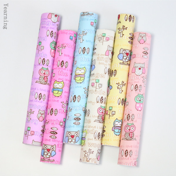 A4 Size Cartoon Owl Pattern DIY Adhesive Decor Flower Pattern Fabric Reform Stickers Scrapbooking Embellishments(China (Mainland))