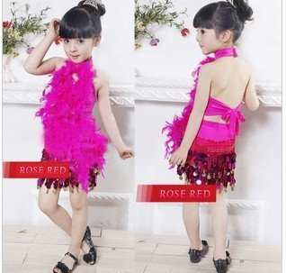 2012  children girl's Latin dance dress,sequin feather performace costume,sexy, free shipping