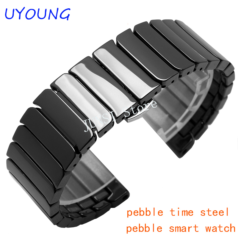 Quality Ceramic Mens Watchband 22mm For Pebble Time Steel ...