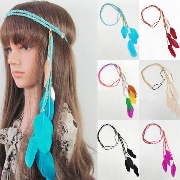 Индейская повязка на голову с перьями 92