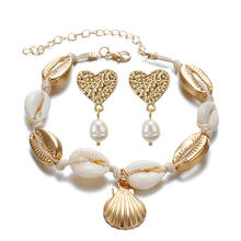New Design Shell pearl EArrings+ANklet Geometric Irregular Bohemia Natural Freshwater Pearl Jewelry Set for Women Girl Gift(China)