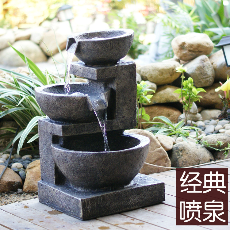 Bonsai rockery fountain water features feng shui wheel home decoration crafts - JiangWei Liang's store