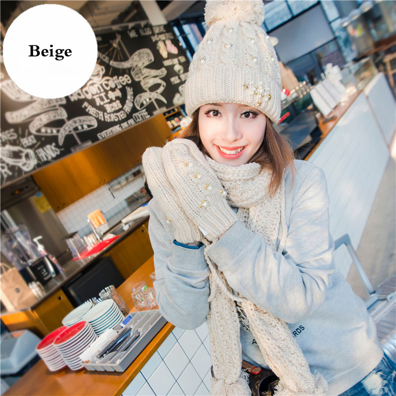 CIVICHIC Top Grade Warm Set Woman Knit Hat Scarf Gloves Beads Pompon Shawl Winter Headwear Velvet Beanies Thicken Mittens SH175