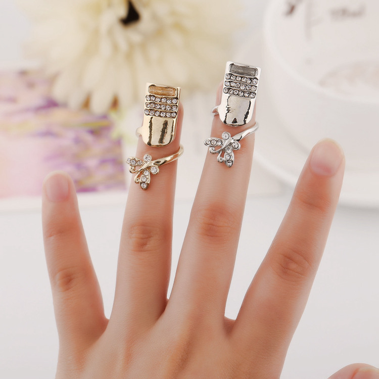 2015 new hot sale Europe selling fashion flash crystal butterfly nail rings factory direct women ring(China (Mainland))
