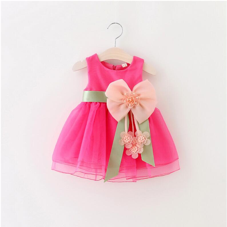 2016 Baby Girls Dress Big Bowknot Infant Party Dress For Toddler Girl First Brithday Baptism Clothes Double Formal Tutu Dresses(China (Mainland))