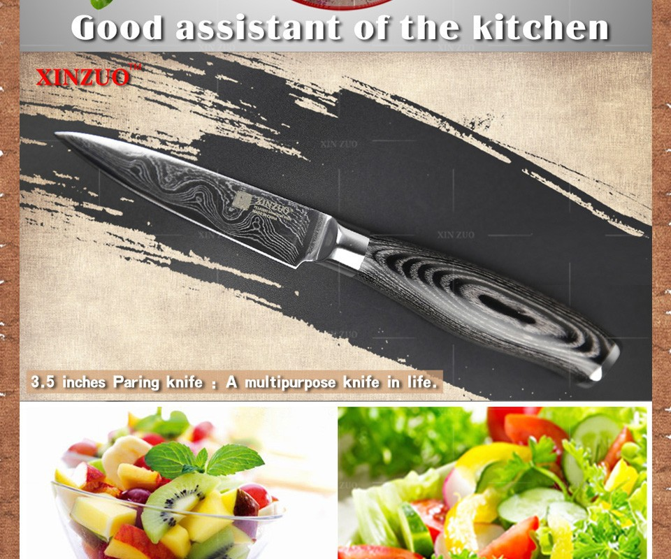 """Buy XINZUO 3.5"""" inch paring knife 73 layers Japan Damascus kitchen knife sharp peeling fruit knife Color wood handle free shipping cheap"""