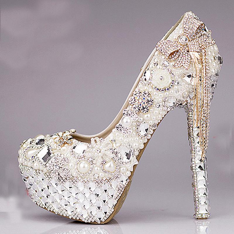 2015 Luxurious Bowtie Rhinestone Ultra High Heel Shoes Pearl Crystals Wedding Dress Beautiful Bride