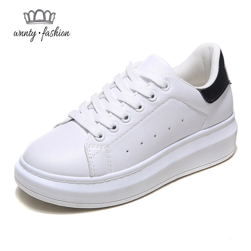 Pu Leather Casual Women's Shoes 2016 New Spring Fashion Lace-Up Platform Brand White Woman Low Top Flats shoes - only love forever store