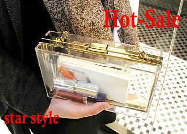 free shipping 14 colors new hot sale brand designer clear acryl bag 2013 fashion Transparent handbags women chain clutch bag