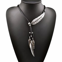 New Bohemian Style Black Rope Chain Leaf Feather Pattern Pendant Necklace For Women Fine Jewelry Collares Statement Necklace(China (Mainland))