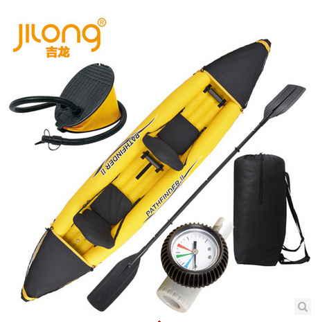 Jilong 2 person pathfinder canoe inflatable boat sport kayak,size 376*77*34cm, include foot pump,oars(China (Mainland))