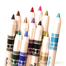 12 Colors Cosmetic Glitter Eye Shadow Lip Liner Eyeliner Pencil Pen Makeup Set 1UJT