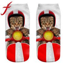 Calcetines divertidos de las mujeres de Feitong Kawaii señoras Casual 3D gato estampado lindas zapatillas de corte bajo tobillo calcetines cortos calcetines de barco mujer(China)
