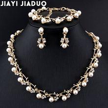 Jiayijiaduo חם חיקוי פרל חתונת שרשרת עגיל סטי כלה תכשיטי סטים לנשים אלגנטי מסיבת מתנת אופנה תלבושות(China)