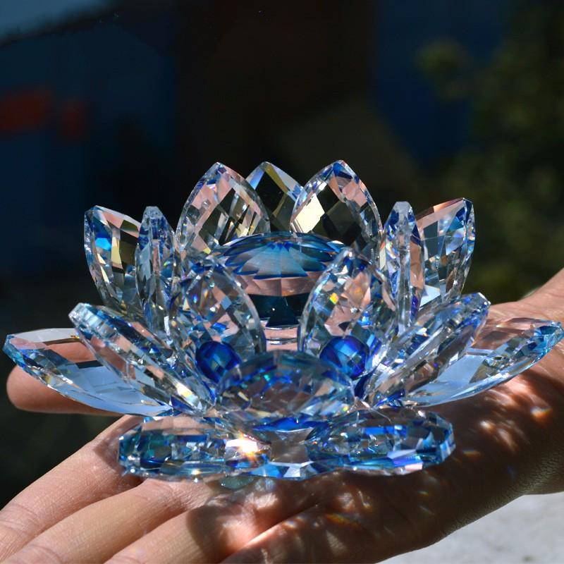 90mm blue quartz crystal glass lotus flower natural stones - Comprar tarros de cristal pequenos ...