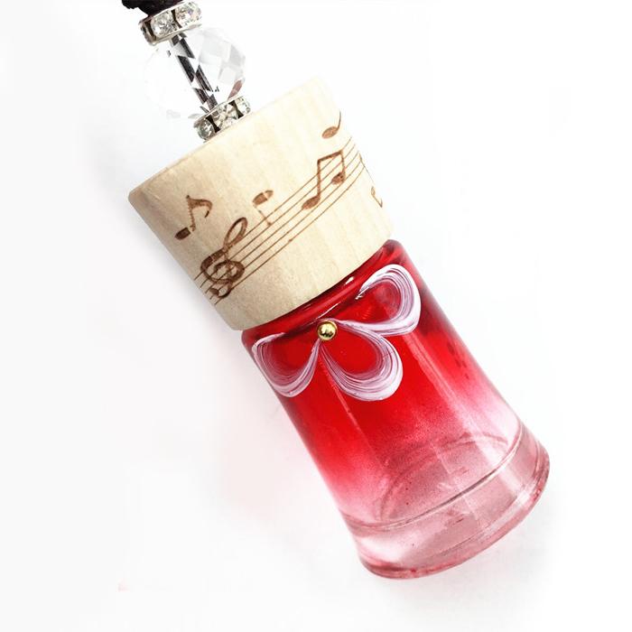 10ml Handpaint Color Glass Perfume Bottle Cute Fragrance Essential Oil Bottle Wood Lids Car Decoration New Brand 10pcs/lot FZ356(China (Mainland))