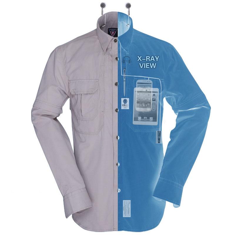 Outdoor multi pocket hiking shirts men long sleeve for Uv fishing shirts