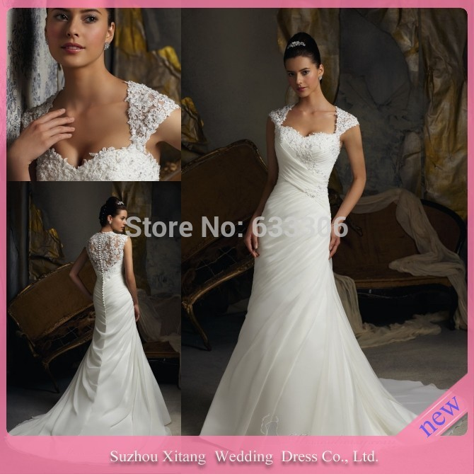 Vestido De Noiva Classic Mermaid Sweetheart Applique Lace Organza Pearls Court Train wedding gowns dresses 2015 - Cloudup store