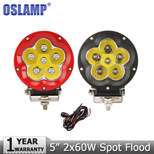 Oslamp 60W CREE Chips Offroad LED Driving Light Headlight Combo Beam Car Auto Led Work Light 12v 24v Tractor 4WD Truck ATV 4x4(China (Mainland))