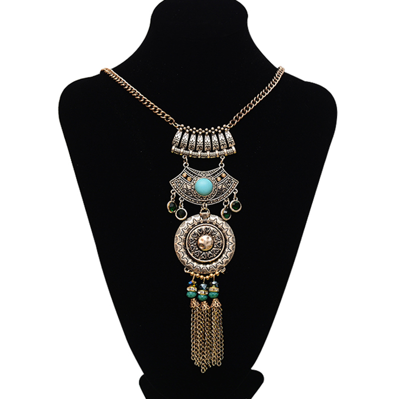 2015 Fashion New Brand Multilayer Silver Beads Chain Tassel Long Vintage Boho Gypsy Ethnic Statement Necklaces & Pendants(China (Mainland))