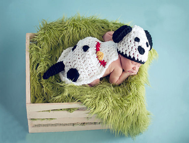 Lovely Puppy Dog Design Baby Hat and Cape Set Knitted Newborn Baby Photo Props Crochet baby Clothes Outfits 1set MZS-15078(China (Mainland))