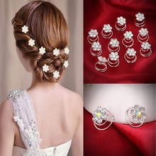 Buy 12Pc Hair Decor Crystal Rhinestone Flower Hair Clips Hairpins Hairgrips Hairclip Barrette Clips Women Girls Hair Accessories for $1.69 in AliExpress store
