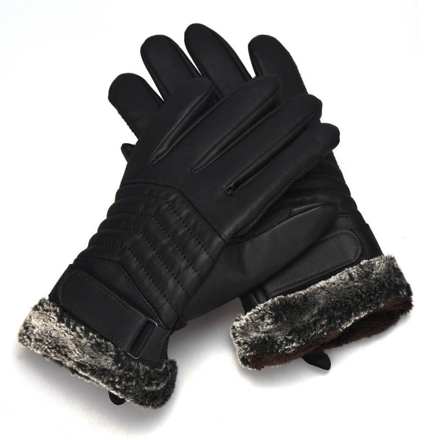 Mens leather gloves for iphone - New Brand Screen Gloves For Smartphone Men S Sports Waterproof Leather Gloves Winter Warm Fur Gloves For