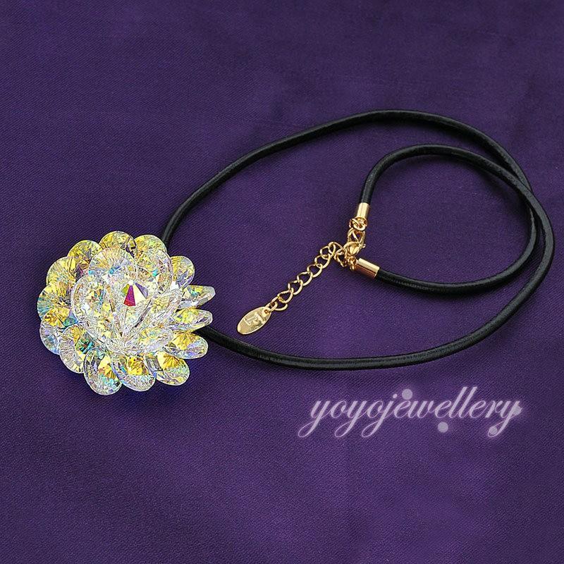 Черный кожа воск веревка цветок кулон ожерелье женщины ювелирные изделия подарок N643