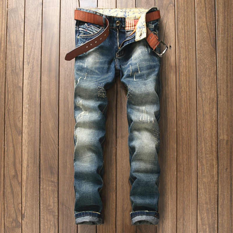 Men's High quality Casual skinny Biker Jeans Man Meth Pant ripped Brand hiphop Straight biker jeans homme denim pants trousers