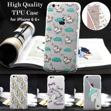 Unique Cute Unicorn Crystal Clear Transparent Soft Silicon Phone Case Back Cover for iPhone 6 6s Plus TPU Coque Carcasa Funda